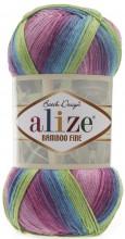 Alize BAMBOO FINE BATIK 3260 фуксия-бирюза-зеленый