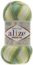 Alize BAMBOO FINE BATIK 4557 бел-желт-хаки-яр.зеленый