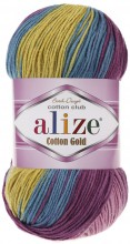 Alize COTTON GOLD BATIK 6794 яр.мальва-бирюза-желтый