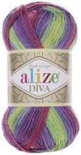 Alize DIVA BATIK 3241 роз-сирень-фист-желтый