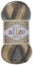 Alize DIVA BATIK 3307 зелен-беж-молочный