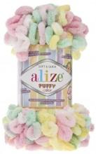 Alize PUFFY COLOR 5862 лимон-роз-мята