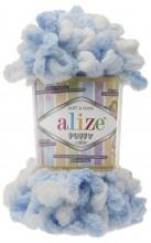 Alize PUFFY COLOR 5865 бел-голубой