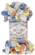 Alize PUFFY COLOR 5866 коралл-голубой