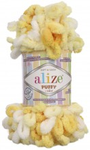 Alize PUFFY COLOR 5921 канарейка принт