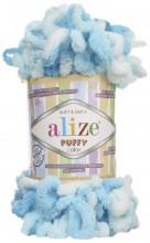 Alize PUFFY COLOR 5924 бирюза принт
