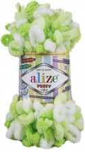 Alize PUFFY COLOR 5937 белый-салат