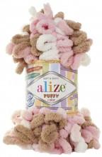 Alize PUFFY COLOR 6046 беж-роз-белый
