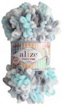 Alize PUFFY FINE COLOR 5939 мята-серый