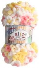 Alize PUFFY FINE COLOR 5942 лимон-роз-белый