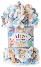 Alize PUFFY FINE COLOR 5946 белый-сер-беж-бирюза