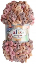 Alize PUFFY FINE COLOR 6033 мокр.песок-п.роза-св.какао