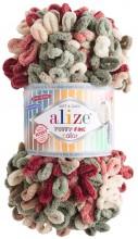 Alize PUFFY FINE COLOR 6039 вишня-хаки
