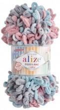 Alize PUFFY FINE COLOR 6041 серый-п.роза-бирюза