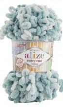 Alize PUFFY FINE COLOR 6064 мятный принт