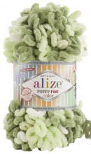 Alize PUFFY FINE COLOR 6068 фисташка принт