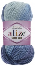 Alize COTTON GOLD BATIK 3299 синий-гол-белый
