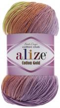 Alize COTTON GOLD BATIK 3304 роз-желт-бирюза-сирень