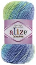 Alize COTTON GOLD BATIK 4146 бирюза-желтый