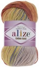 Alize COTTON GOLD BATIK 5508 оранж-желт-серый